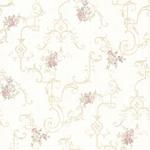 Lori Light Green Floral Trellis Wallpaper 992-68308
