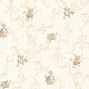 Lori Peach Floral Trellis Wallpaper 992-68309