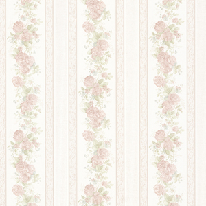 Tasha Pastel Satin Floral Scroll Stripe Wallpaper 992-68317