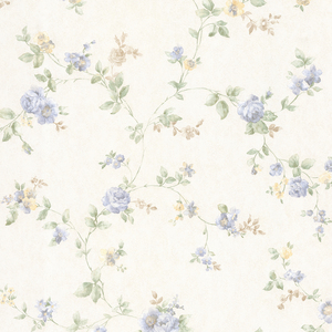 Mary Light Blue Floral Vine Wallpaper 992-68331