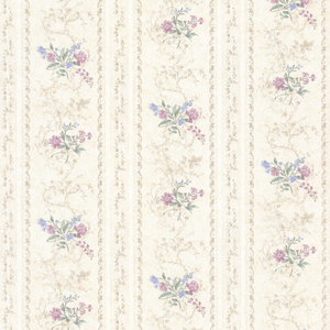 Maury Purple Floral Bouquet Stripe Wallpaper 992-68333