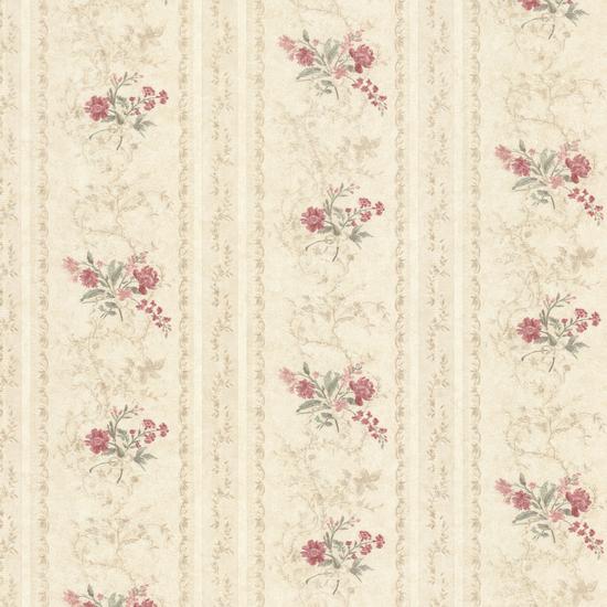 Maury Beige Floral Bouquet Stripe Wallpaper 992-68334
