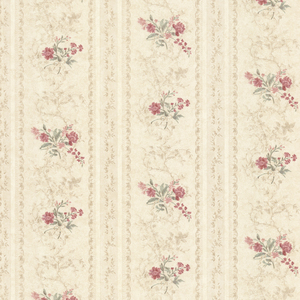 Maury Beige Floral Bouquet Stripe Wallpaper 992-68334
