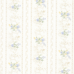 Maury Light Blue Floral Bouquet Stripe Wallpaper 992-68336