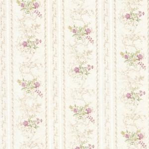 Maury Mauve Floral Bouquet Stripe Wallpaper 992-68337