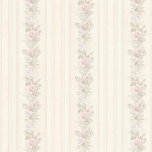 Alexis Pastel Satin Floral Stripe Wallpaper 992-68349