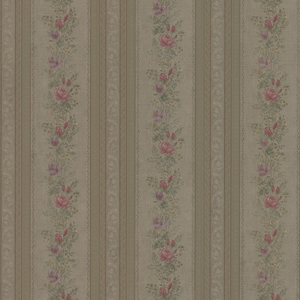 Alexis Olive Satin Floral Stripe Wallpaper 992-68350