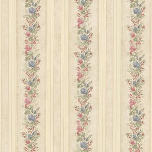Alexis Beige Satin Floral Stripe Wallpaper 992-68351