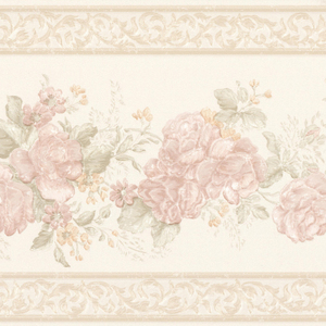 Tiff Blush Satin Floral Border 992B07565