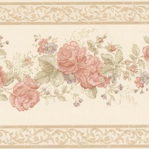 Tiff Peach Satin Floral Border 992B07566