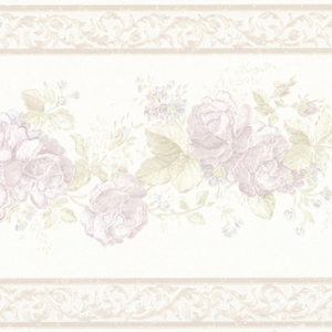 Tiff Lavender Satin Floral Border 992B07568