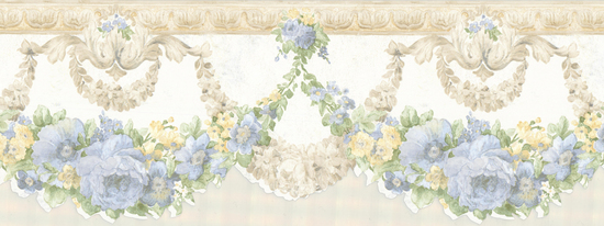 Marianne Light Blue Floral Bough Border 992B07569