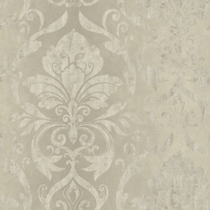 Lulu Taupe Smiling Damask Wallpaper VIR98213