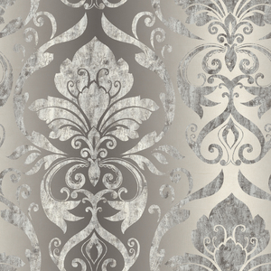 Lulu Charcoal Smiling Damask Wallpaper VIR98216