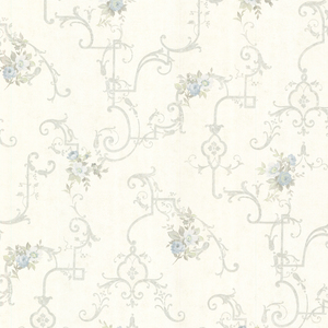 Lori Light Blue Floral Trellis Wallpaper 992-68306