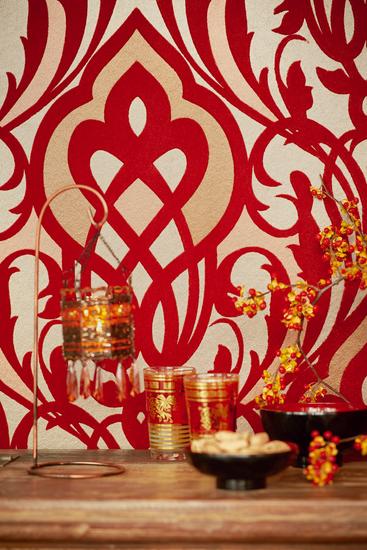 Sahrzad Red Nouveau Damask 341721