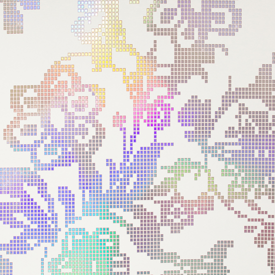 Sadira Beige Pixelated Modern Floral 341740