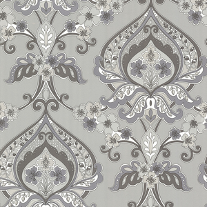 Ashbury Grey Paisley Damask Wallpaper 450-67367