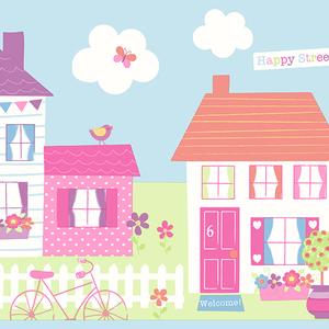 Happy Street Village Blue Border 2679-50121