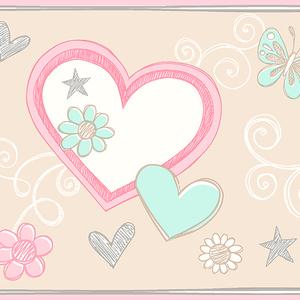 Heart Felt Doodle Beige Border 2679-50124