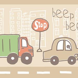 Beep Beep Zoom Taupe Border 2679-50126