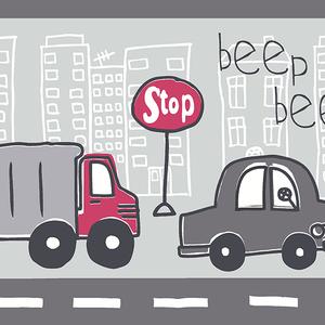 Beep Beep Zoom Grey Border 2679-50127