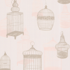 Avian Taupe Bird Cages Wallpaper 450-67328