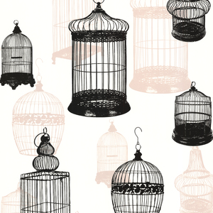 Avian Black Bird Cages Wallpaper 450-67330