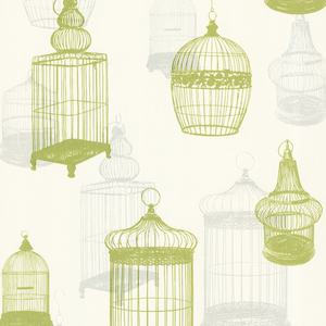 Avian Green Bird Cages Wallpaper 450-67332
