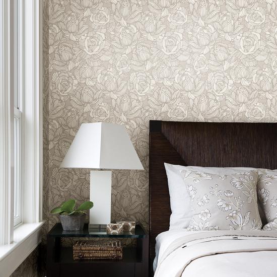 Calista Beige Modern Rose Wallpaper 450-67344