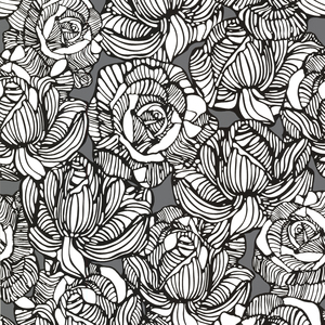 Calista Grey Modern Rose Wallpaper 450-67345