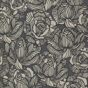 Calista Black Modern Rose Wallpaper 450-67346