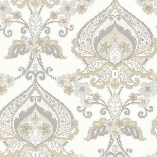 Ashbury Taupe Paisley Damask Wallpaper 450-67366