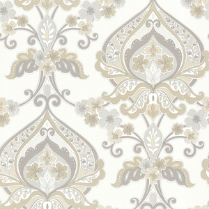 Ashbury Taupe Paisley Damask Wallpaper 450-67366