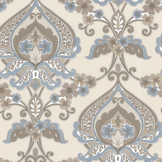 Ashbury Aqua Paisley Damask Wallpaper 450-67368