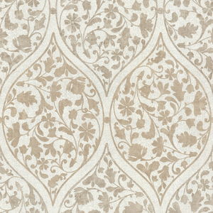 Adelaide Light Brown Ogee Floral Wallpaper 450-67383