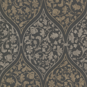 Adelaide Charcoal Ogee Floral Wallpaper 450-67384