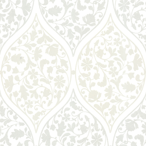 Adelaide Silver Ogee Floral Wallpaper 450-67387