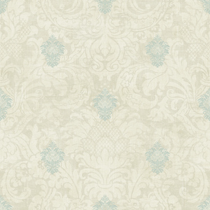 Damask in Cream and Antique Blue VA11502