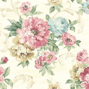 Scrolling Garden Roses in Linen VA10103