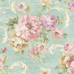 Scrolling Garden Roses in Pale Blue VA10104