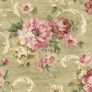 Scrolling Garden Roses in Gold VA10107