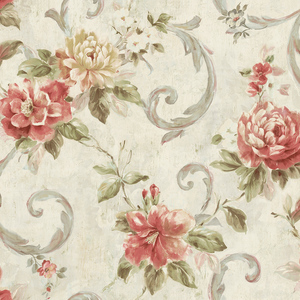 Scrolling Blooms in Pearl VA10901