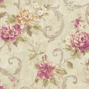 Scrolling Blooms in Linen VA10905