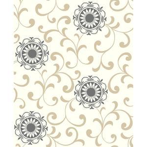 Medallion W/Scroll Wallpaper AB2175
