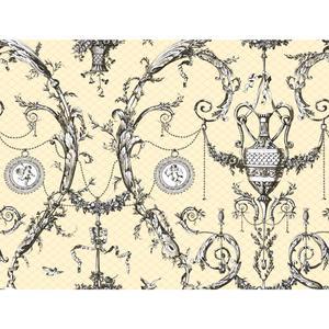 Neoclassic Urn Toile Wallpaper AH4756