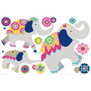 Pink & Yellow Elephant Mega Wall Decals RMK3044TB
