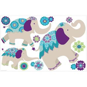Teal & Purple Elephant Mega Wall Decals RMK3045TB