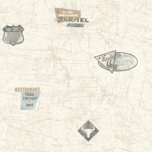 Route 66 Map With Signs Wallpaper AM8786