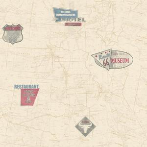 Route 66 Map With Signs Wallpaper AM8787